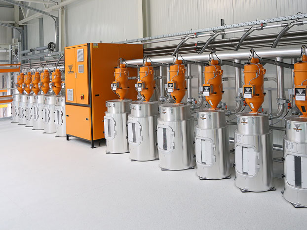 KOCH-TECHNIK granulate dryer with a lot of drying containers for various materials